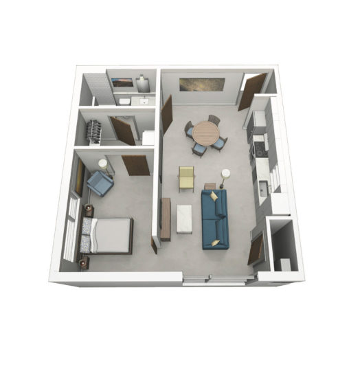 Floor plan of one-bedroom unit